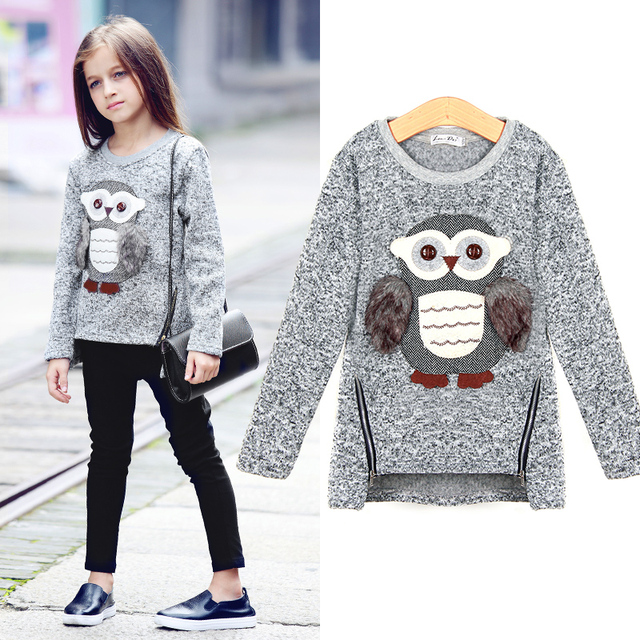 kids girls fleece lined zipper sweatshirt cartoon cute owl