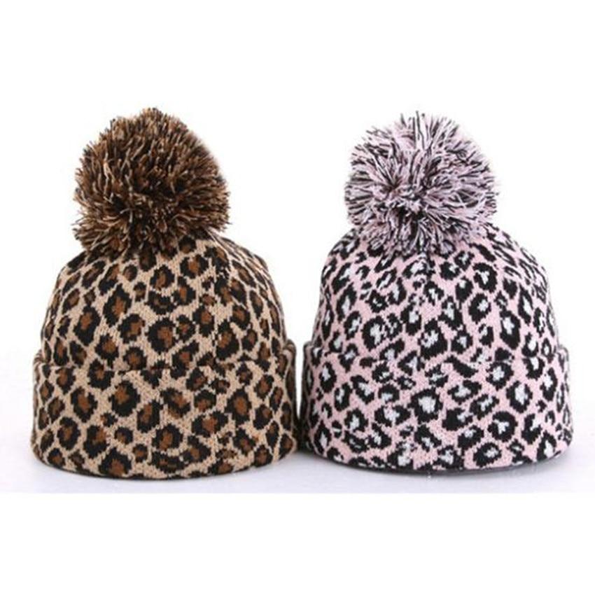Leopard Man/Women Hip-hop Knitted Hat Winter Thicken Warm Caps Pompon Beanie Hat Fashion Caps Pink/Coffee