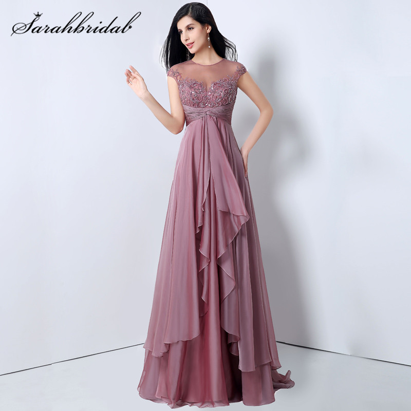 Mauve Vintage Chiffon Long Prom Dresses A-Line O-Neck Cap Sleeve Floor Length Court Train Formal Evening Gowns Back Hollow JS014
