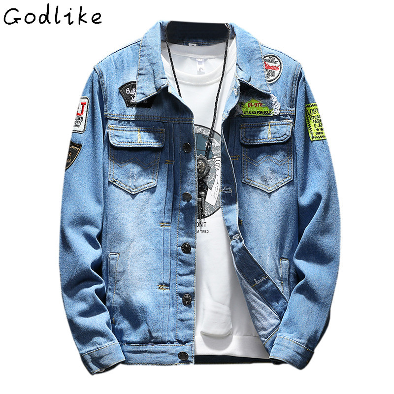 GODLIKE Men 39 s Denim Jacket high quality fashion Jeans Jackets Slim fit casual streetwear Vintage male clothing Plus Size M 5XL in Jackets from Men 39 s Clothing
