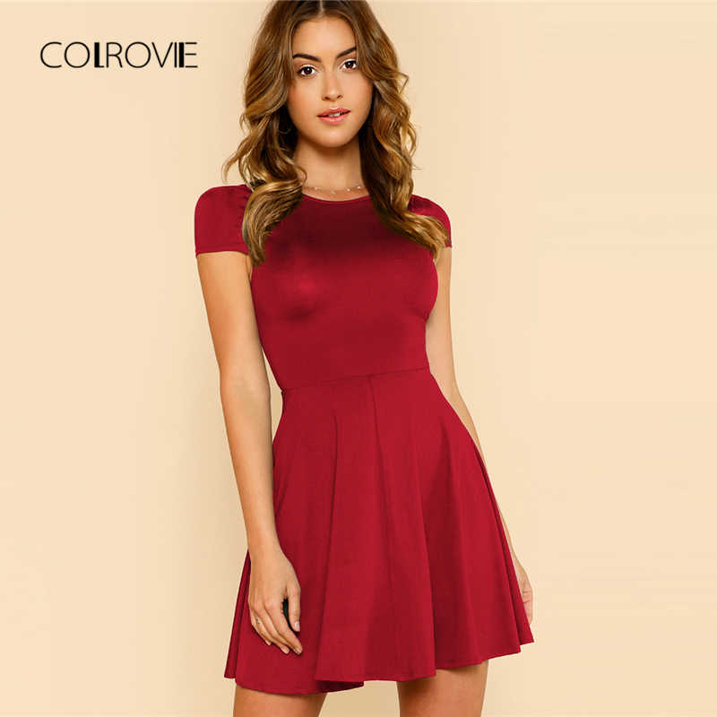COLROVIE Black Wokwear Open Back Date Women Dress 2018 New Burgundy Elegant Summer Dress Cap Sleeve A-Line O Neck Party Dress