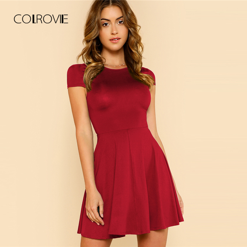 COLROVIE Black Wokwear Open Back Date Women Dress 2018 New Burgundy Elegant Summer Dress Cap Sleeve A-Line O Neck Party Dress