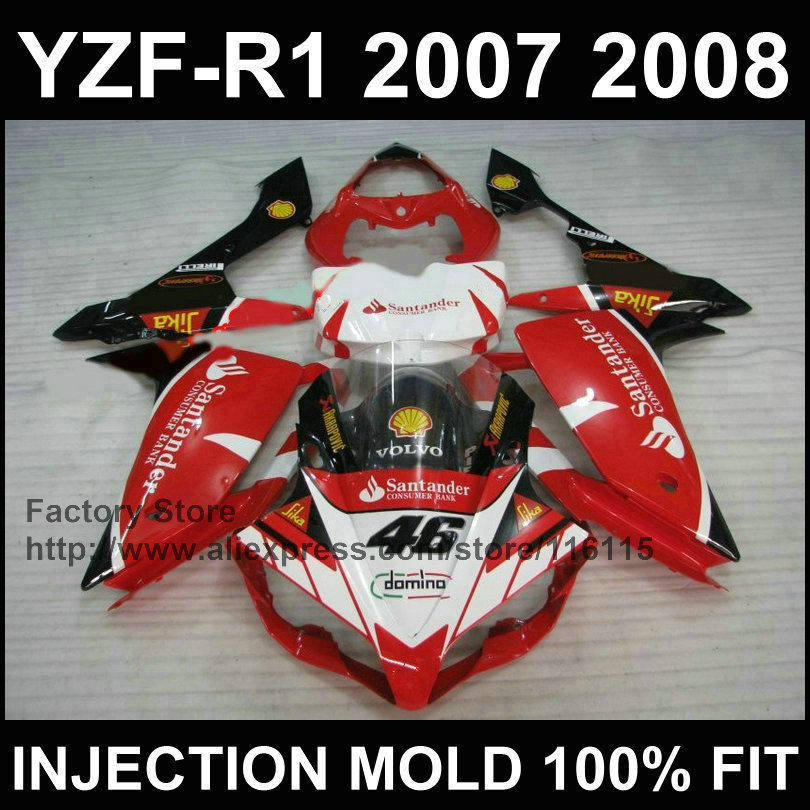 High quality motorcycle injection body fairings set for YAMAHA YZF R1 2007 2008 YZFR1 07 08 YZF1000 red santander fairing kits high quality motorcycle injection mold factory fairings kit for yamaha yzfr1 2007 2008 yzf r1 07 08 white red body fairing parts