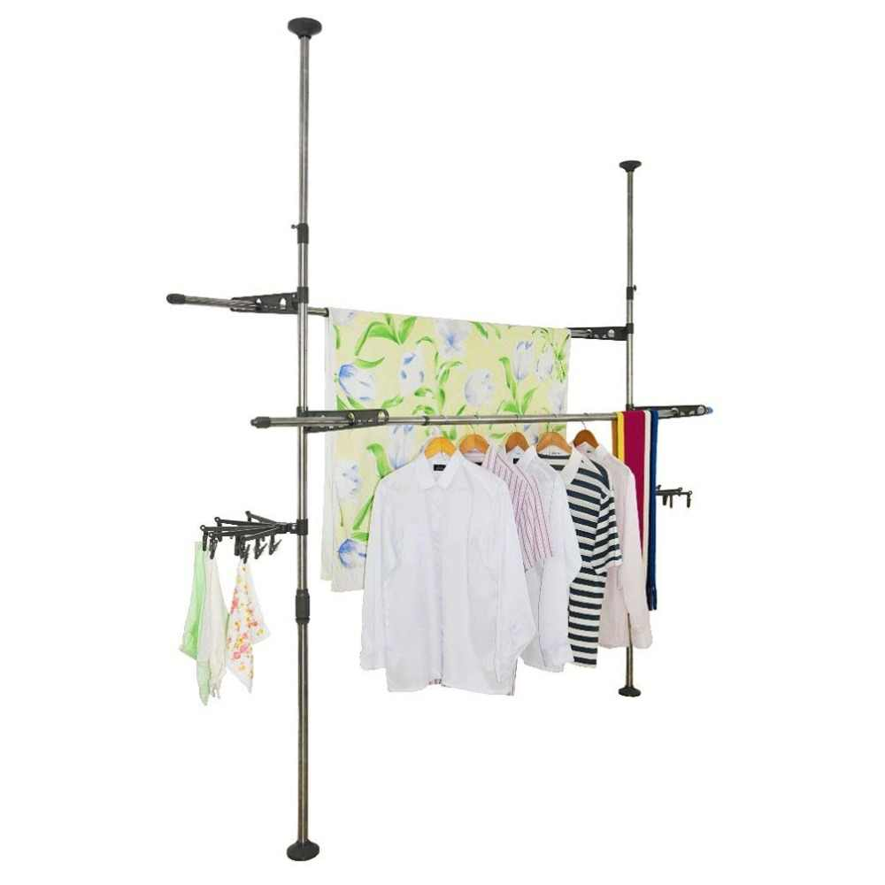 Adjustable Indoor Clothes Drying Rack Garment Rack Coat Stand Rack Drying Hangers Floor to Ceiling Drying Rack +Clip DQ0777-29D