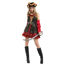 Adult Womens Eye Candy Spanish Pirate Swashbuckler Costumes Halloween Purim Carnival New Year Masquerade Fancy Party Dress