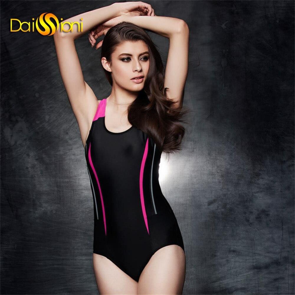 ФОТО 2017 Summer Surf Ladies Beach Wear One Piece Swimwear Patchwork Girls Sports Compettive Swim Suit Plus Size Women Bathing Suits