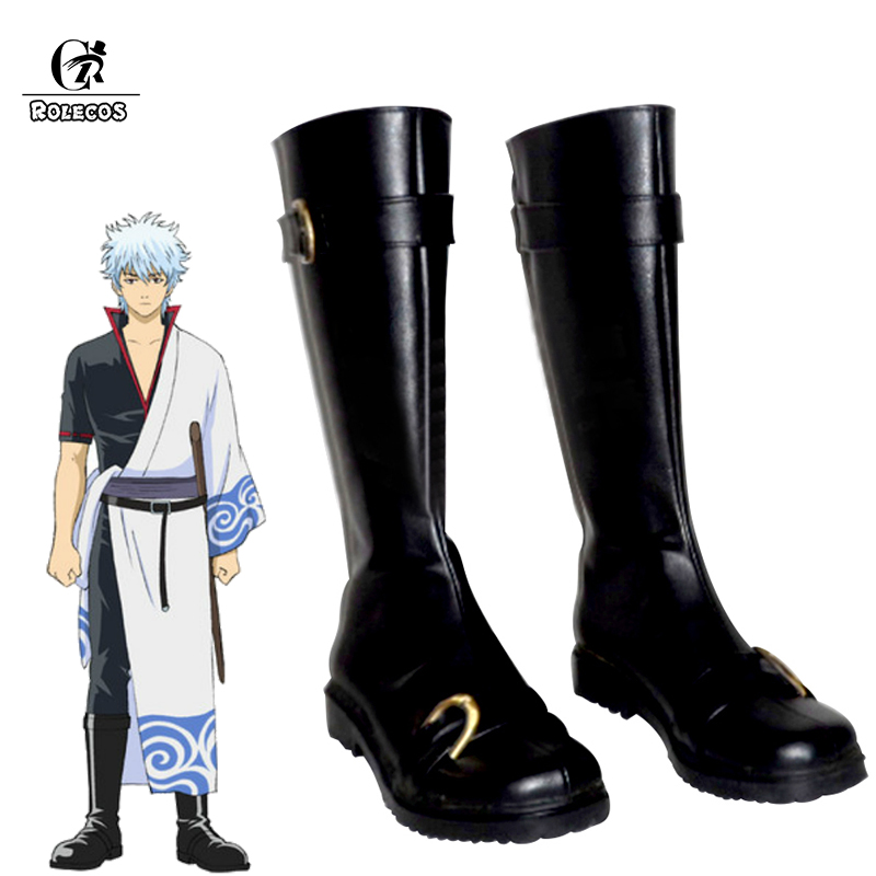 ROLECOS Gintama Sakata Gintoki Cosplay Shoes Sakata Gintoki Cosplay Boots Black Anime Cos Shoes