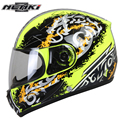 NENKI Unisex Motorcycle Full Face Racing Helmet yellow clolor Motorcycle cross-country helmet Clear Lens Shield Helemt