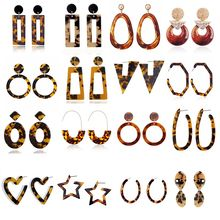 Leopard Print Acrylic Acetic Acid Geometric Heart Round Long Drop Dangle Earrings for Women Tortoise Color Fashion ZA Jewelry(China)