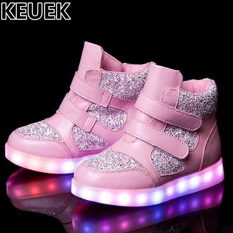 NEW Spring/Autumn Lighted Children LED Light Shoes Boys Girls High Glowing Sneakers Student USB Charging Casual Kids Flats 044