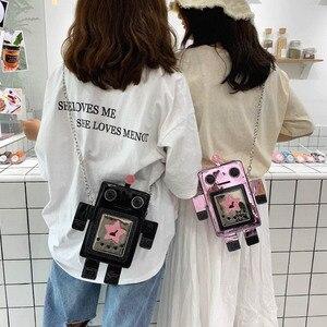 Image 4 - クリエイティブレーザーロボットカラフルな女性のための女性の人格デザインチェーンクロスボディバッグレディース夏電話財布バッグ