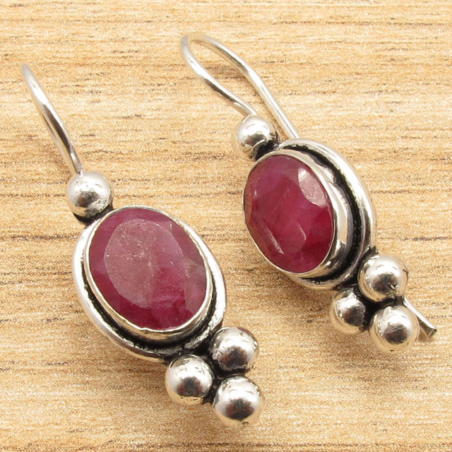 Cut Red Rubi Gemset Earrings 1 4 Inches Silver Plated Urban Style Jewelry