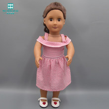 Clothes for dolls fits 45cm American doll accessories fashion Pink plaid dress(China)
