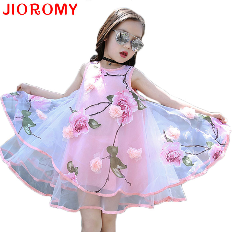JIOROMY Big Girls Dress 2017 Summer Fashion Flower Lace Knee High Ball Gown Sleeveless Baby Children Clothes Infant Party Dress multiple chandelier american minimalist living room wrought iron candle crystal lights lighting lamps bedroom za zx160
