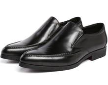 Мода коричневый загар/черный квартиры мужские свадебные туфли из натуральной кожи бизнес обувь мужская платье обувь мужской обуви работы