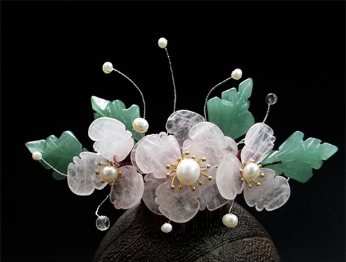 Pink Crystal Petal Dong Ling Jade Leaf Middle Top Hair Pins Pinchcock Costume Hanfu Hair Accessory Hairpins for Women 5 pcs leaf hair accessory