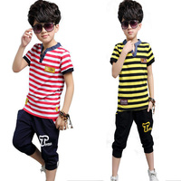 Boys Clothing Set 2017 Summer Kids Clothes Teenage Outfits Toddler Boy Sets Fashion Striped Sshort Sleeved