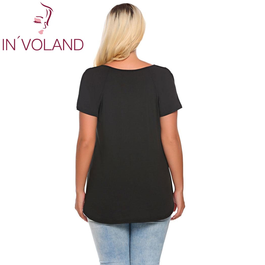 3ed5f8ed483 IN VOLAND Women T Shirts Tops Plus Size L 4XL Vintage O Neck Short Sleeve  Cut out Shoulder Solid Pullovers Tshirt Tees Big Size-in T-Shirts from  Women s ...