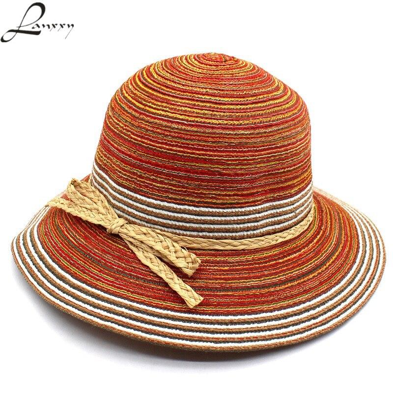 Женская соломенная шляпа Lanxxy, винтажная шляпа от солнца, головной убор для отдыха на лето, цветная шляпа для пляжа