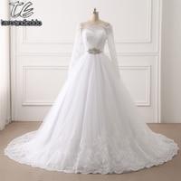 vestido de novia NEW Off the Shoulder Ball Gowns Beading Sash Long Sleeves Wedding Dress Button Back Bridal Gowns
