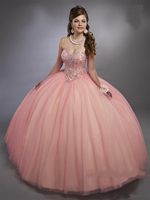 Blush Pink Ball Gown Quinceanera Dresses Corset Lace up Back Bling Bling Crystals Girl Party Gowns Ball Gown Sweet 15 Dresses