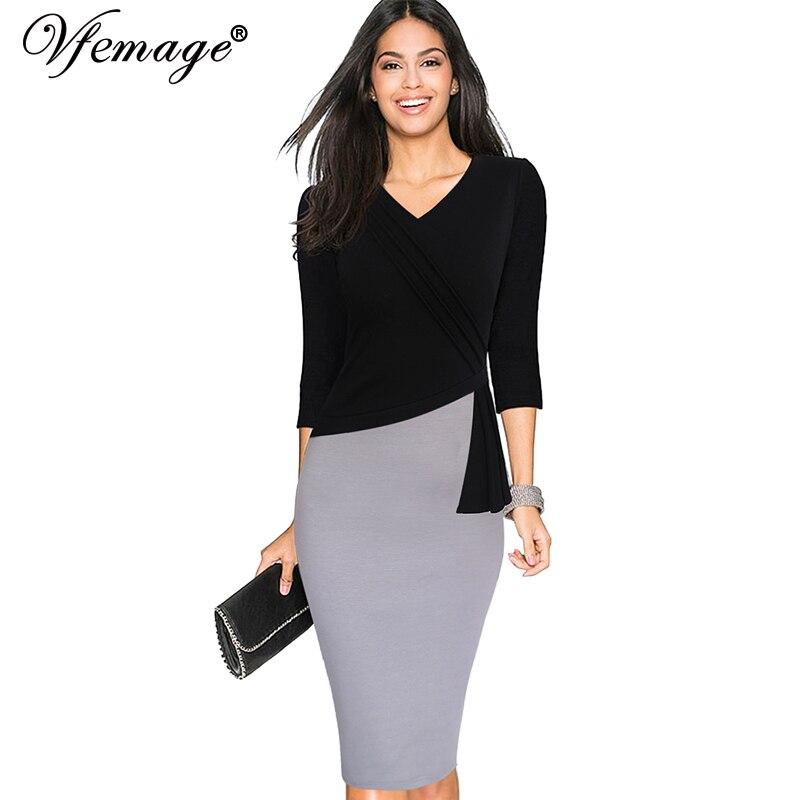 Vfemage Womens New Mature Elegant V Neck Warm Stylish Wiggle Work Dress Office Bodycon -8814