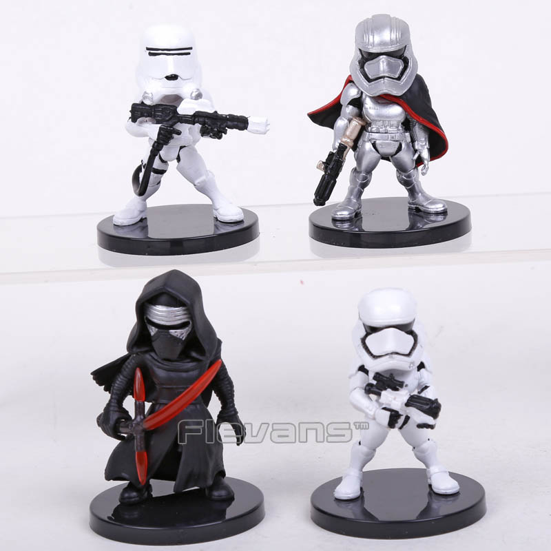 Star Wars 4pcs/set KYLO REN STORMTROOPER FLAMETROOPER CAPTAIN PHASMA Mini PVC Figures Collectible Model Toys Boxed star wars taiko yaku stormtrooper 1 8 scale painted variant stormtrooper pvc action figure collectible model toy 17cm kt3256