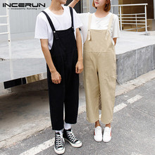 INCERUN Bib Pants Couple Men And Women Tooling New Korean Version Loose Nine Points Casual Pants Autumn 2020 Men Jumpsuits 5XL
