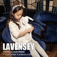 Lavensey 2017 Newest Gesign Girls White Flower Luxury Children Clothes Hot Dressses Three Quarter Sleeve Baby