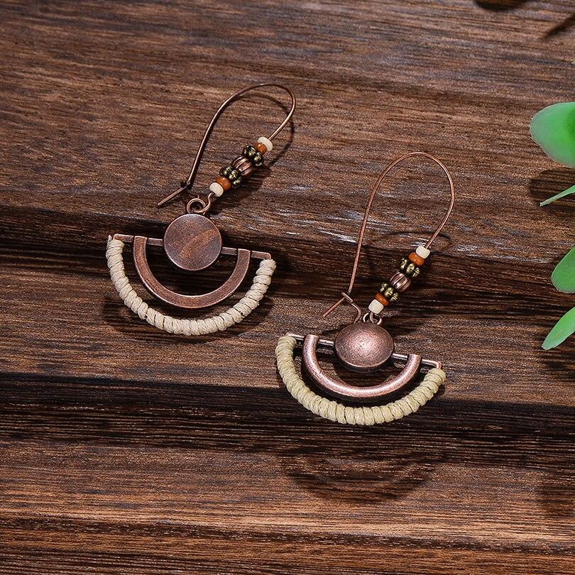 Retro Copper Hollow Fan Pendant Drop Earrings for Women Ethnic Wooden Beads Wire Hook Long Dangle Earring Jewelry Hot Sale