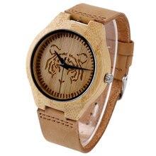 Legal Tiger Dial Projeto Hand-made Natureza Madeira Relógio com Pulseira de Couro Genuíno De Moda De Madeira Relógio De Pulso para Homens Reloj de madera
