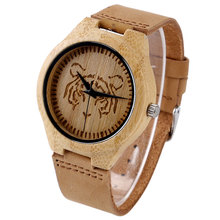 Cool Tiger Dial Design Hand-made Nature Wood Watch with Genuine Leather Band Fashion Wooden Wristwatch for Men Reloj de madera