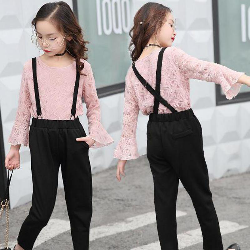 2018 Spring Baby Girls Clothes Sets Long Sleeve Pink Lace Tops Shirts + Black Overalls Roupas Infantis Menina Conjunto Infantil
