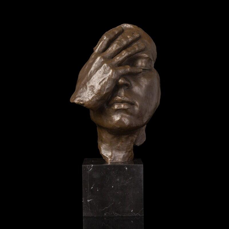 Arts Crafts Copper Nouveau Art Bronzes Antique Statue Abstract Human Face Thinking Bronze sculpture New Item Modern Home Decorat