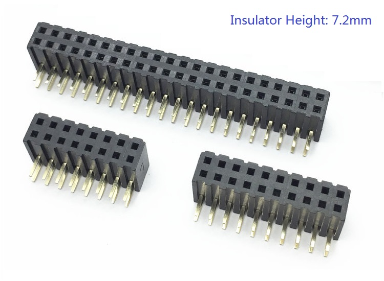 100pcs 2.0 mm PCB Female Header 4 10 12 14 16 20 24 40 44 80 Pin Dual row Through Holes Angled 90 Degree 7.2 mm Insulator Height