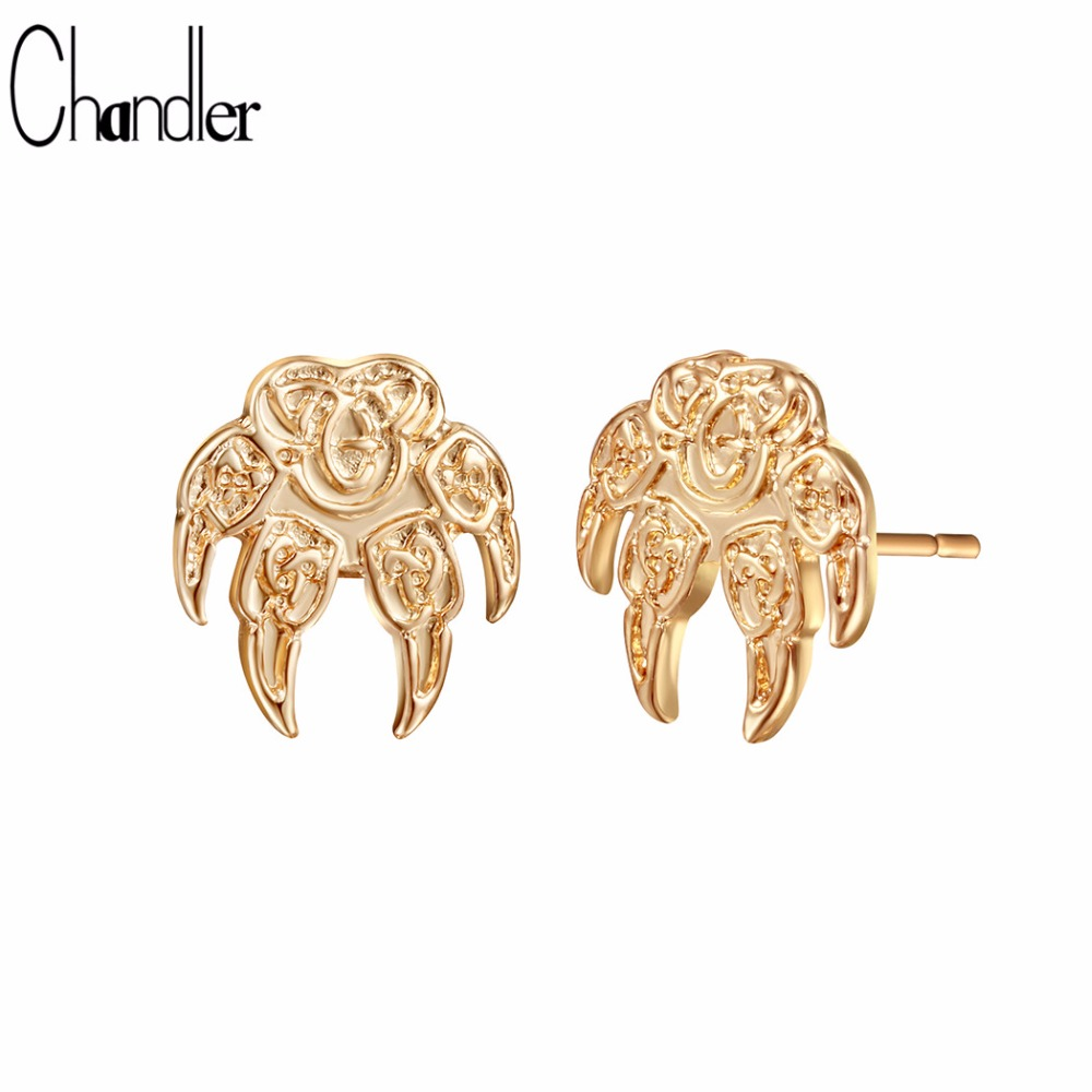 Chandler Wolf Paw Earring Punk Pagan Talisman Stud Earring Viking Slavic Jewelry Unisex Gold Color Silver Plate Amulet Accessary
