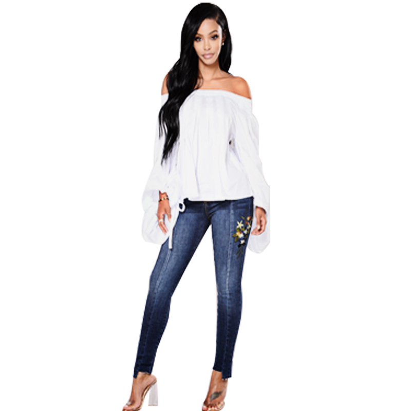 Women Blue Casual Skinny Stretch Bleached Ripped Washed Flower Embroidered Full Length High Waist Jeans Plus Size Sale autumn women hole ripped jeans push up bleached washed pencil pants boyfriend sexy slim skinny jeans stretch plus size c1420
