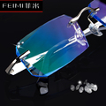 Finished with rimless glasses men titanium diamond trimming glasses frame plain color eyes female models yj13