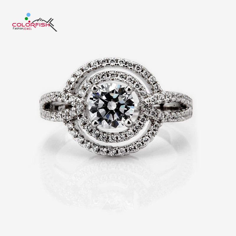 COLORFISH Genuine 925 Sterling Silver 0.8 Ct Round Double Halo Engagement Ring For Women Split Shank Female Wedding Band Ring
