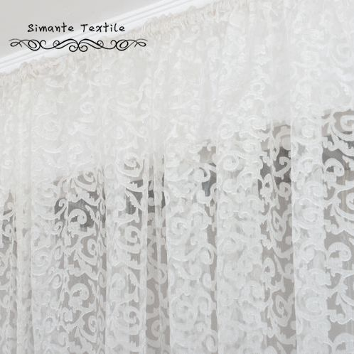 European Style Fashion Jacquard Organza Fabric For Sheer Panel Tulle Curtain  For Living Room(China