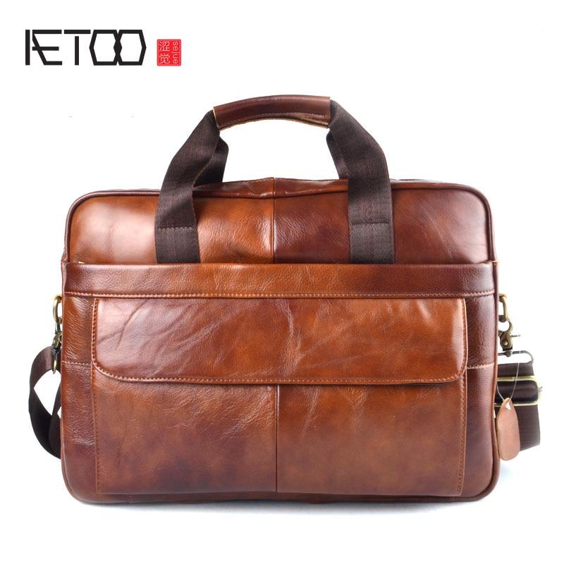 Herrentaschen Luxus Marke Hohe Qualität Geschäfts Echtes Leder Aktentasche Männer 14 laptop Tasche Braun Leder Handtaschen Schulter Messenger Tasche Gepäck & Taschen