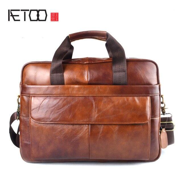 AETOO натуральная кожа сумка для ноутбука сумки из воловьей кожи мужская сумка через плечо Мужской Дорожный коричневый кожаный портфель