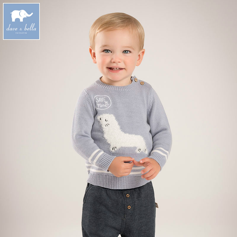 DBZ6135 dave bella autumn infant baby boys cotton pullover sweater lovely clothes toddler children knitted Sweater db2315 dave bella autumn winter baby boy turtleneck sweater infant clothes toddle cotton wool sweater boys plum sweaters