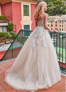 Image 3 - Maravilloso tul Jewel Neckline A line vestido de novia con apliques de encaje & 3D flores vestidos de novia champán