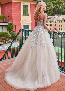 Image 3 - Marvelous Tulle Jewel Neckline A line Wedding Dress With Lace Appliques & 3D Flowers Champagne Bridal Gowns