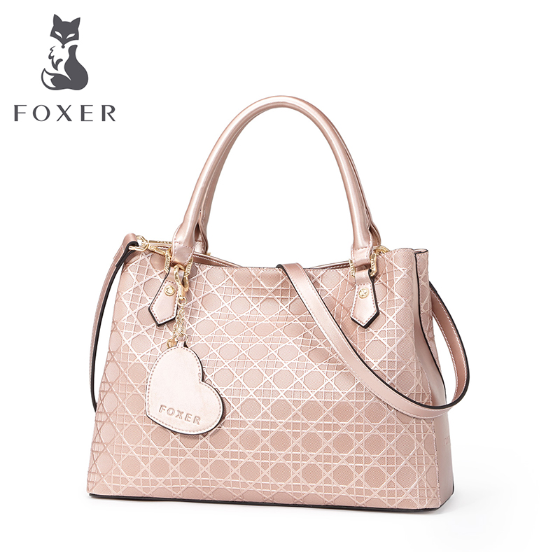 FOXER luxury totes sweet women leather handbags youth fashion shoulder bag ladies messenger bags designer handbags high quality foxer famous brand fashion women bag top quality genuine leather handbags women totes floral zipper women messenger bags