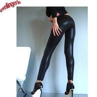 Colore nero donne sexy leggings, vinyl faux leather nero pelle di serpente leggings per il commercio all'ingrosso 2017 w0053