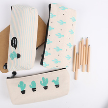 1PC Brief Style Green Cactus Canvas Large Capacity Pencil Bag Storage Pencil Case School Stationery Supplies