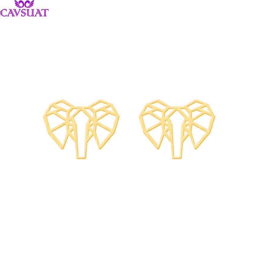 シンプルなステンレス鋼折り紙象のスタッドのイヤリング女性のためのゴールドシルバー色幸運動物の耳のスタッドパーティージュエリーギフト