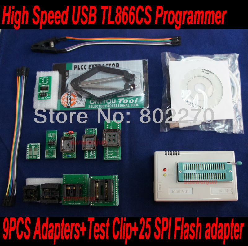 USB TL866CS Programmer EPROM SPI FLASH AVR GAL PIC+9pcs adapters+test clip+25 SPI Flash support in-circuit programming adapter vs4800 usb universal programmer for bios gal eprom flash 51 avr pic mcu spi with 48pin zif socket support 15000 ic 4 adapters